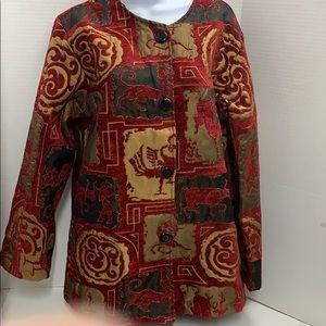 Hanna LaJournee Tapestry Jacket Red Black Gold